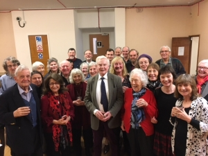 Vice-President Sir Derek Jacobi with members after the  AGM in January 2018.